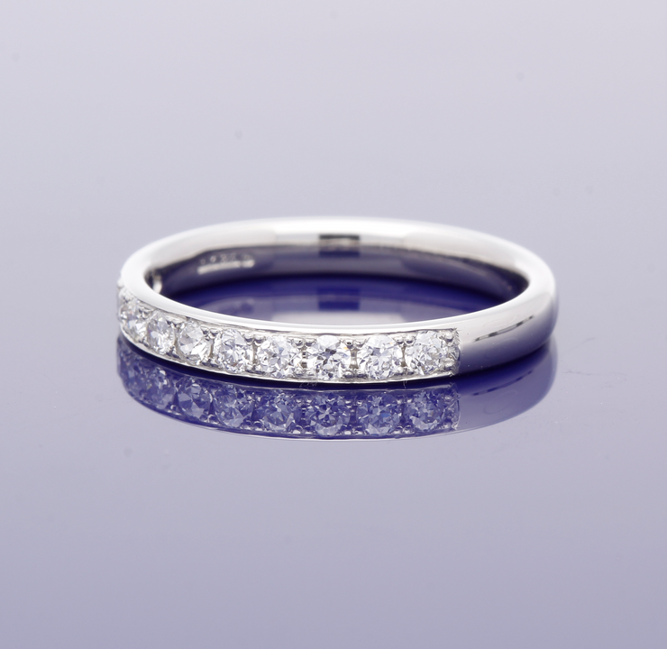 Platinum 2.5mm Grain Set Old Cut Diamond Half Eternity Ring