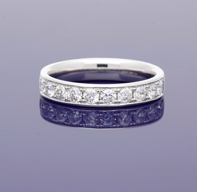 Platinum 3.5mm Grain Set Old Cut Diamond Half Eternity Ring
