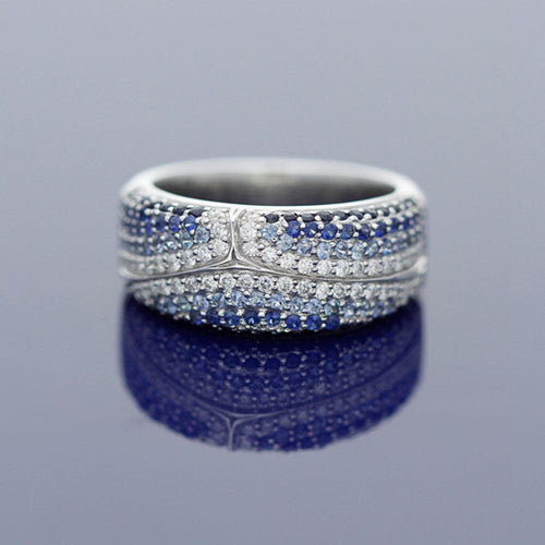 18ct White Gold Sapphire and Diamond Cluster Band