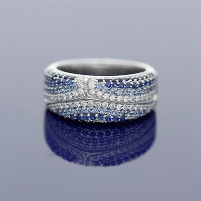 18ct White Gold Sapphire and Diamond Cocktail Eternity Ring