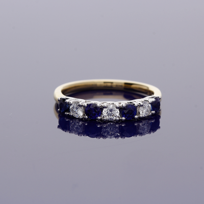 18ct Yellow Gold Sapphire and Diamond Half Eternity Ring
