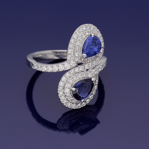 18ct White Gold Sapphire and Diamond Twist Ring