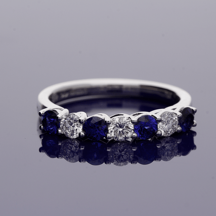 18ct White Gold Sapphire and Diamond Half Eternity Ring