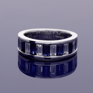18c White Gold Sapphire and Diamond Half Eternity Ring