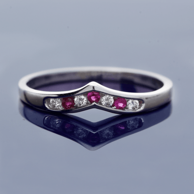 18ct White Gold Diamond and Ruby Wishbone Ring