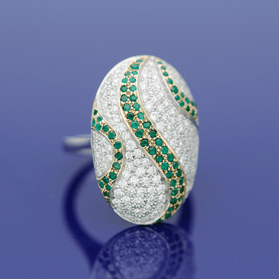 18ct White & Yellow Gold Oval Fancy Diamond and Emerald Ring
