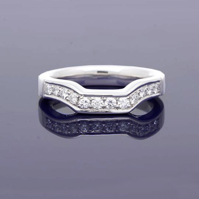 Platinum Shaped Wedding Band With Pave Set Diamonds