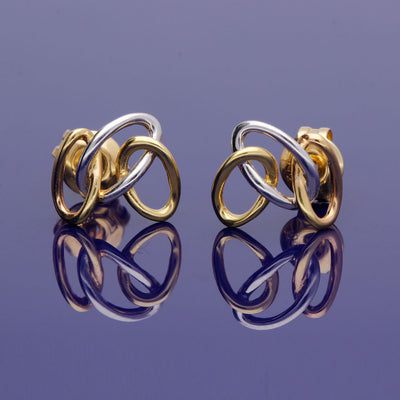 18ct Yellow, White and Rose Gold Triple Loop Stud Earrings