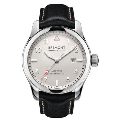 Bremont Solo Men's Stainless Steel Automatic Black Leather Strap Watch, SOLO/PW
