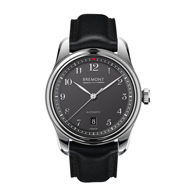 Bremont Airco Mach 2 Men's Automatic Stainless-Steel Black Leather Strap Watch, AIRCO/MACH2/AN