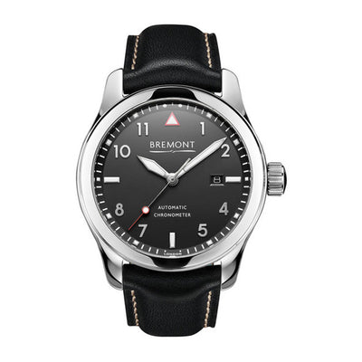 Bremont Solo Men's Automatic Black Leather Strap Watch, SOLO/PB
