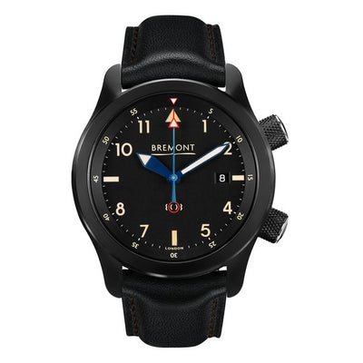 Bremont U-2/51 Jet Men's Automatic Black Leather Strap Watch, U-2/51-JET/R