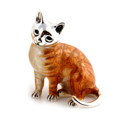 Silver Enamel Marmalade Cat - Medium