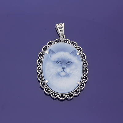 Sterling Silver and Sardonyx Hand Carved Cameo- Persian Cat