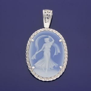 Sterling Silver and Sardonyx Hand Carved Cameo- Grecian Goddess II