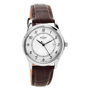 Gents Rotary Stainless Steel Leather Strap Watch