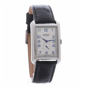 Gents Rotary Stainless Steel Rectangle Leather Strap Watch