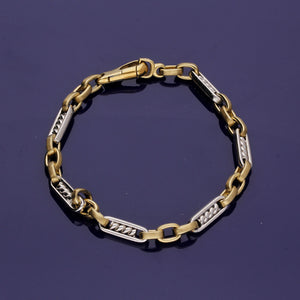 9ct White Gold and 9ct Yellow Gold Fancy Link Bracelet