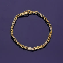 9ct Yellow Gold and 9ct White Gold Fancy Link Chain Bracelet