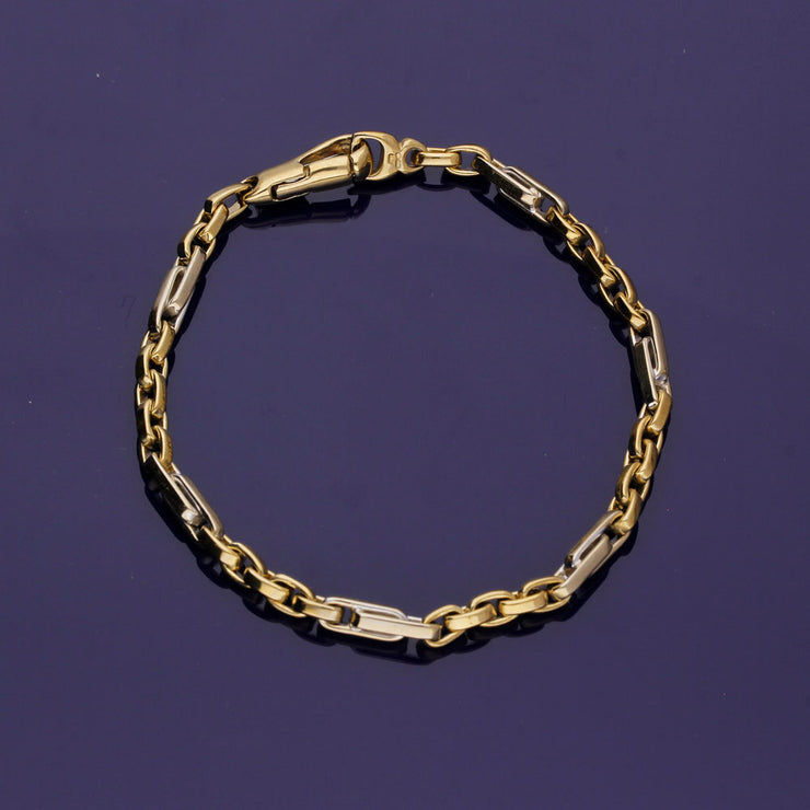 9ct Yellow & White Gold Fancy Link Chain Bracelet