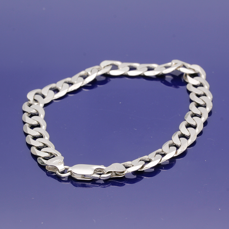 9ct White Gold Flat Curb Bracelet