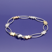 9ct Yellow, Rose & White Gold Butterfly & Oval Link Bracelet