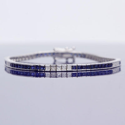 18ct White Gold Sapphire and Diamond Line Bracelet