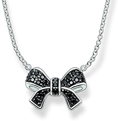 Thomas Sabo Black Cubic Zirconia Bow Necklace, KE1169-051-11