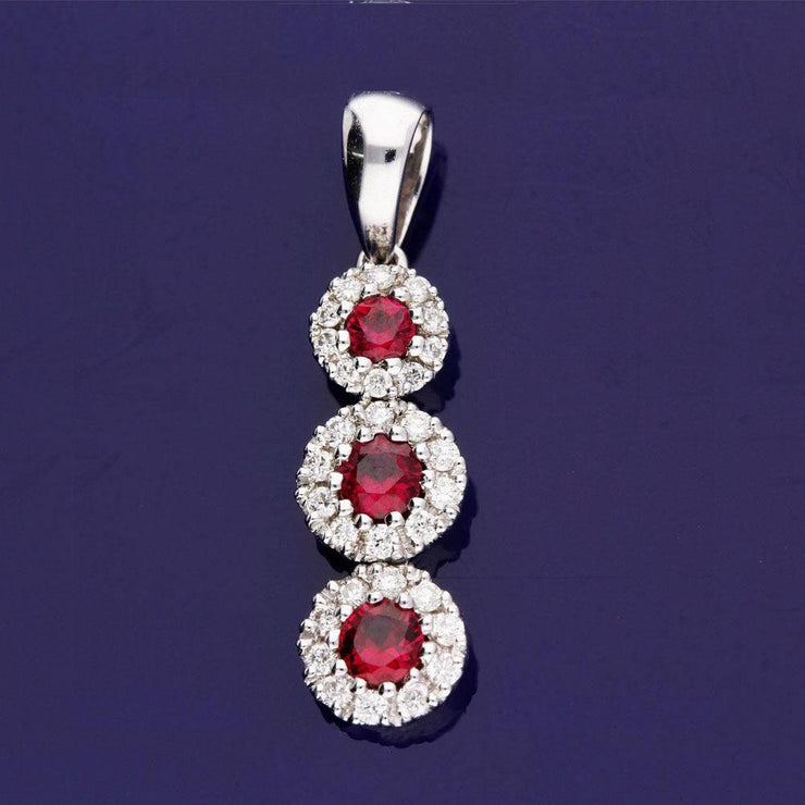 18ct White Gold Ruby and Diamond Graduated Cluster Drop Pendant