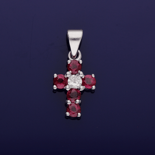 18ct White Gold Ruby and Diamond Cross Pendant