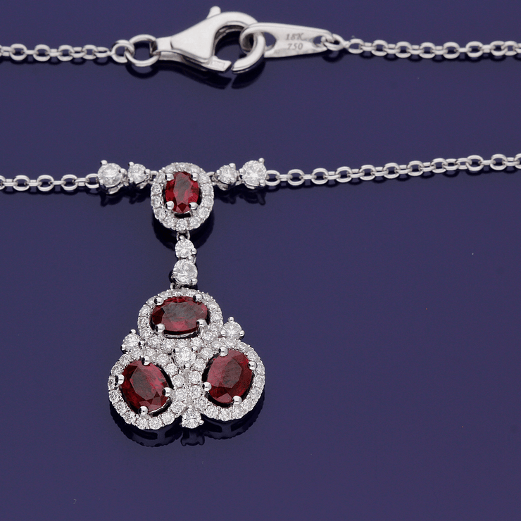 18ct White Gold Ruby and Diamond Cluster Necklace