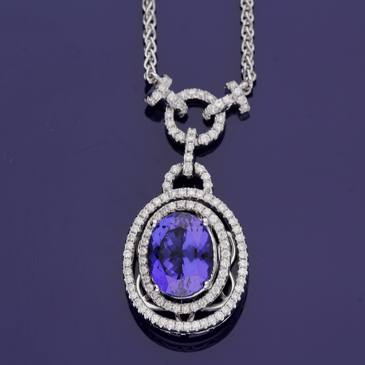 18ct White Gold Oval Tanzanite & Diamond Cluster Necklace