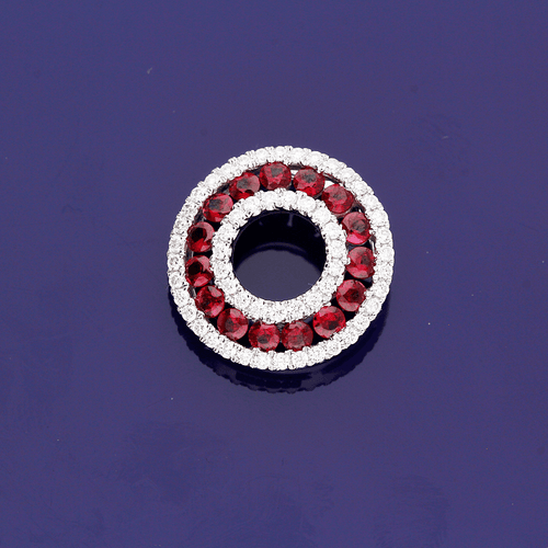 18ct White Gold Ruby and Diamond Circle Pendant