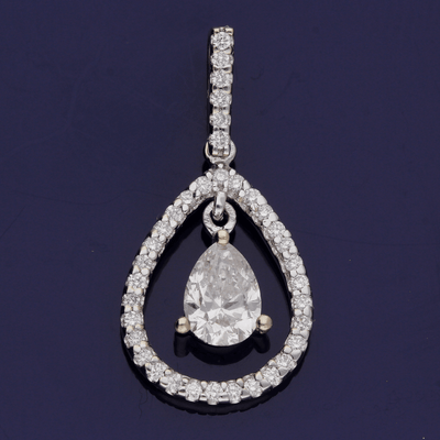 18ct White Gold Pear Shape Diamond Drop Pendant