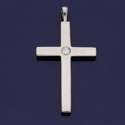 Platinum and Diamond Cross Pendant
