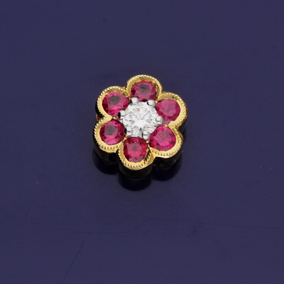 18ct Yellow Gold Ruby & Diamond Flower Pendant