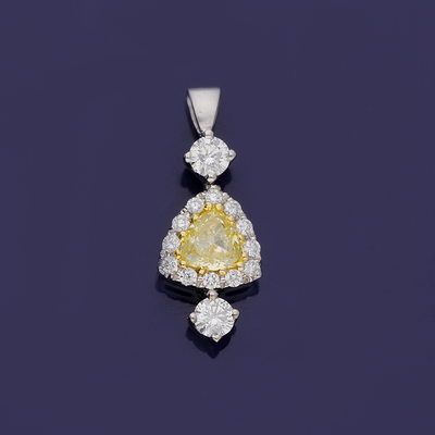 18ct White Gold Yellow and White Diamond Pendant