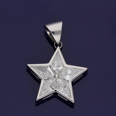 Platinum Kite Cut Diamond Star Pendant