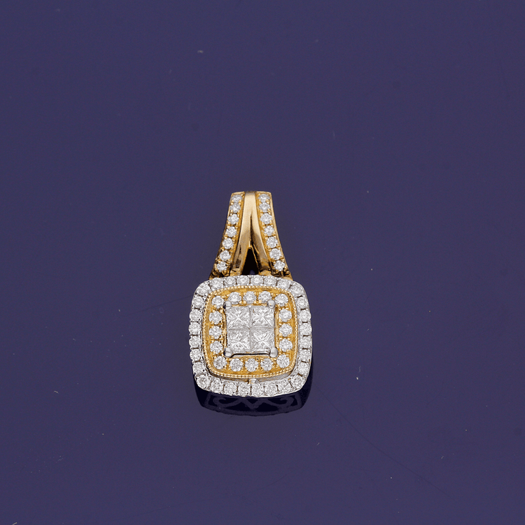 18ct Three Colour Gold Diamond Pendant