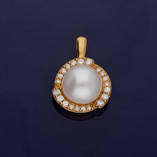 9ct Yellow Gold Pearl and Diamond Pendant