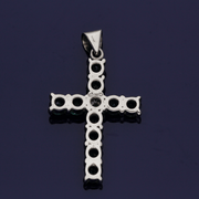 18ct White Gold Emerald and Diamond Cross Pendant