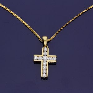 18ct Yellow Gold and Diamond Cross Pendant