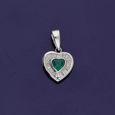 18ct White Gold Emerald and Diamond Heart Pendant