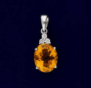 18ct White Gold Citrine and Diamond Pendant