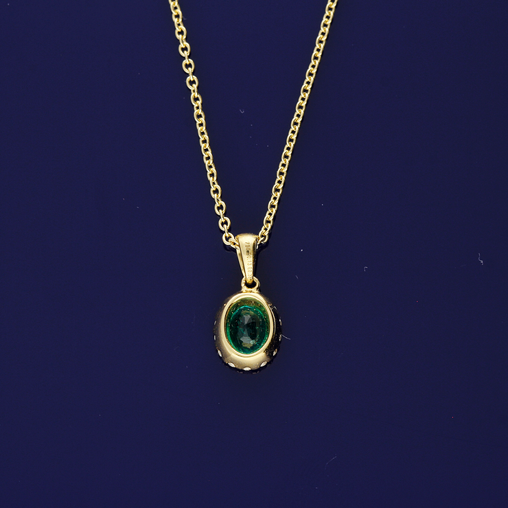 18ct Yellow Gold Emerald and Diamond Necklace
