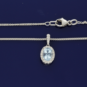 18ct White Gold Aquamarine and Diamond Pendant with Chain