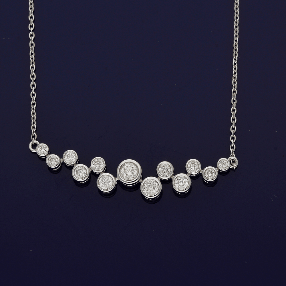 18ct White Gold Diamond Scatter Bubble Necklace