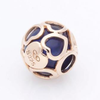 Links of London Play Bead – 18kt Rose Gold Vemeil & Indigo Glass Heart Play Bead