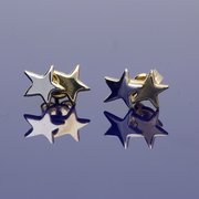 9ct Yellow Gold and 9ct White Gold Star Stud Earrings.