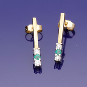 9ct Yellow Gold Emerald & Diamond Bar Earrings